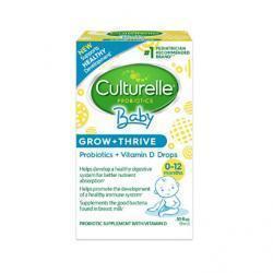 Culturelle Baby Grow + Thrive Probiotics + Vitamin D Drops | Supplements Good Bacteria Found in Br