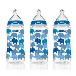 NUK 14073 Hearts Baby Bottle with Perfect Fit Nipple, Medium Flow, 10 Ounces, 3 Pack