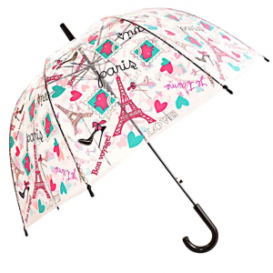 Kung Fu Smith Clear Bubble Dome Umbrella Cute Flowers Leaves Prints & Windproof