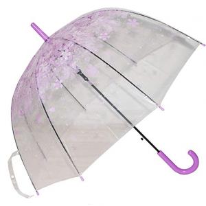 Kung Fu Smith Auto Open Transparent Bubble Shape Cartoon Print POE Stick Umbrella (Purple Flowers)