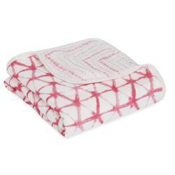 berry shibori silky soft stroller blanket