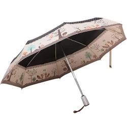 Kung Fu Smith Women Polka Dots Animal Automatic Open Close Compact Umbrella, Black