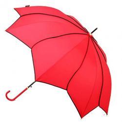 Kung Fu Smith Women Automatic Open Flower Stripes Parasol Rain Stick Umbrella, Red