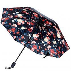Kung Fu Smith Flowers Prints Compact Travel Umbrella, Sun UV Protection Parasol