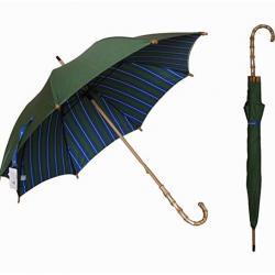 Bamboo Hook Handle Double Canopy Windproof Stripes Rain UV Protection Stick Umbrella