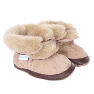 Robeez Cozy Ankle Boots Tan Soft Soles