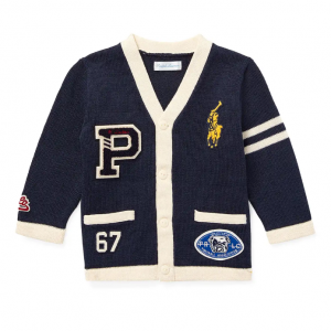 Ralph Lauren Childrenswear V-Neck Cardigan Sweater w/ Logo Patches, Size 6-24 Months