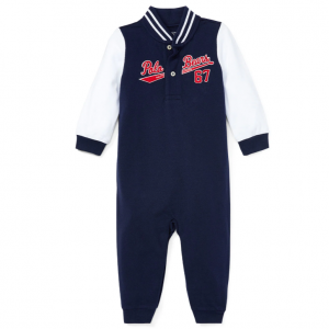 Ralph Lauren Childrenswear Baseball Polo Bears Coverall, Size 3-12 Months