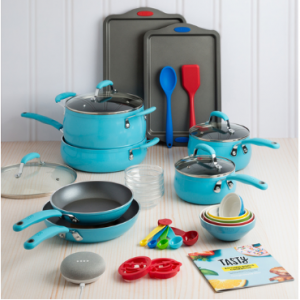 $69.99 Tasty 30 Piece Non-Stick Cookware Set (Blue, Red) + Google Home Mini @ Walmart