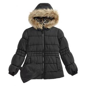 Weathertamer Big Girls Puffer Coat with Faux Fur Trimmed Hood