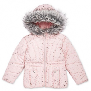 S Rothschild & CO S. Rothschild Little Girls Printed Puffer Jacket with Faux-Fur Trim