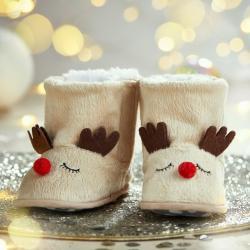 My 1st Years Personalized Cream Reindeer Booties