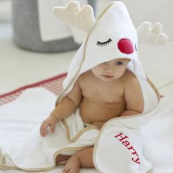 My 1st Years Personalized Reindeer Hooded Towel