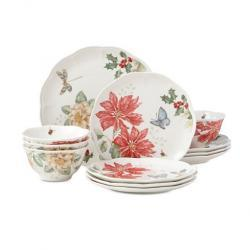 Lenox Butterfly Meadow Holiday 12-Piece Dinnerware Set Poinsettias and Jasmine Design