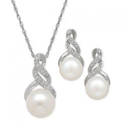 Cultured Freshwater Pearl (8 & 9mm) and Diamond Accent Pendant Necklace and Earrings Set in Sterli