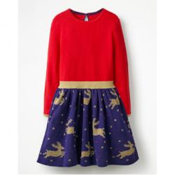 Mini Boden REINDEER KNITTED DRESS