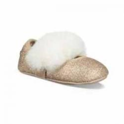 Ugg Baby's Pre-Walker Faux Fur Glitter Ballet Flats