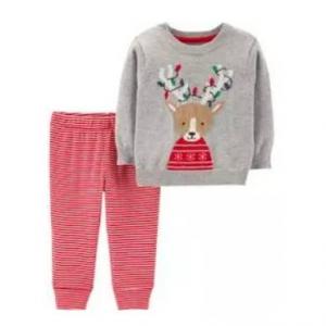 2-Piece Reindeer Sweater & Striped Pant Set
