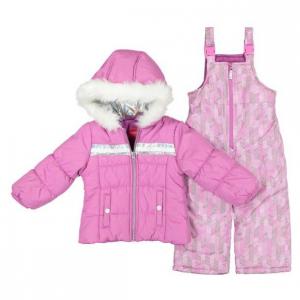 London Fog Little Girl's Two-Piece Faux Fur Trim Hologram Snowsuit Set