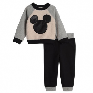 Pippa & Julie Baby's Disney x Little Brother Mickey Two-Piece Faux Fur Sweater & Pants Set