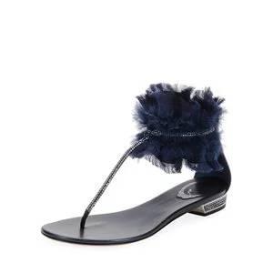 Rene Caovilla Flat Sandal with Satin Ankle Cuff