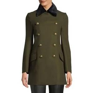 Burberry Kelson Velvet-Trim Double-Breasted Coat