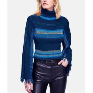 Free People Striped Flared-Sleeve Turtleneck Sweater