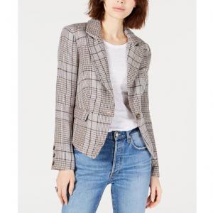Free People Chess Linen Menswear Plaid Blazer