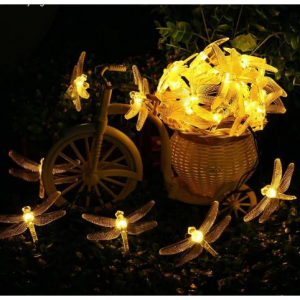 Dragonfly Solar String Lights 20 LED Waterproof Fairy Lighting for Indoor/Outdoor