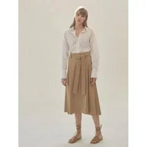 NILBY P Cotton A-line wrap skirt [BE]
