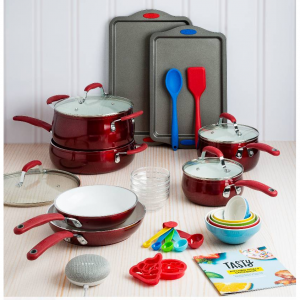 Tasty 30 Piece Non-Stick Cookware Set + Google Home Mini - Red