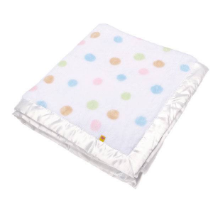 Build A Bear White Blanket with Polka Dots