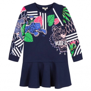 Kenzo Drop-Waist Mixed Tiger Icon Dress, Size 8-12