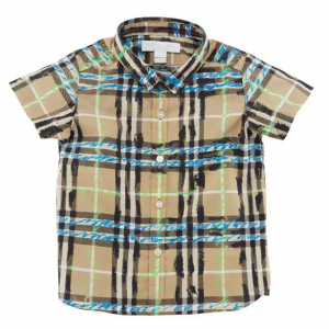 Burberry Clarkey Scribble Check Collared Shirt, Size 6M-3