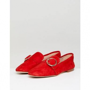 Kurt Geiger Red Suede Circle Buckle Loafers