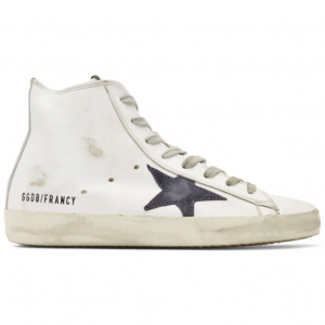 Golden Goose White & Navy Francy High-Top Sneakers