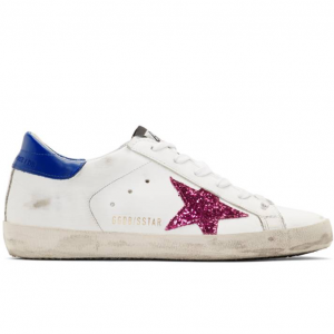Golden Goose White & Blue Glitter Superstar Sneakers