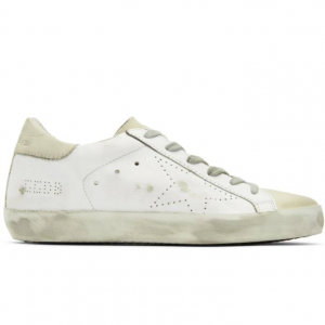 Golden Goose White & Grey Perforated Skate Superstar Sneakers