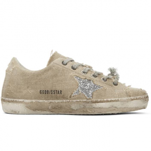 Golden Goose Beige & Silver Glitter Superstar Sneakers
