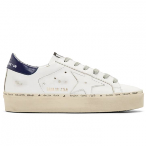 Golden Goose White & Bue Hi Star Platform Sneakers