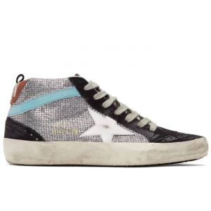 Golden Goose Navy Suede Glitter Mid Star Sneakers