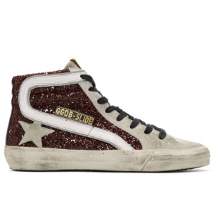 Golden Goose Grey & Red Glitter Sneakers