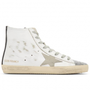Golden Goose White Francy Swarovski Thong High Top Sneakers