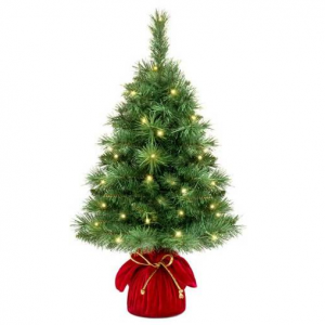 26in Pre-Lit Tabletop Christmas Tree w/ 35 Warm White Lights