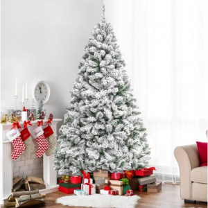 6ft Snow Flocked Hinged Artifical Pine Christmas Tree w/ Metal Stand