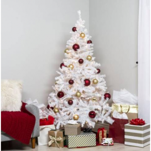 6ft Pre-Lit Hinged Artificial Pine Christmas Tree w/ 250 Lights, Stand
