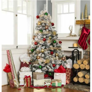 6ft Snow Flocked Pre-Lit Artifical Pine Christmas Tree w/ Warm White Lights