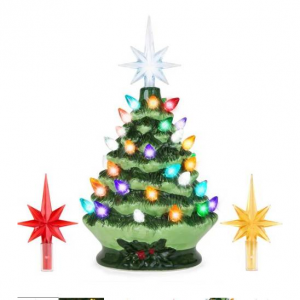 9.5in Pre-Lit Hand-Painted Ceramic Tabletop Christmas Tree