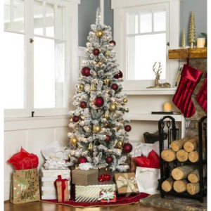 6ft Pre-Lit Artificial Christmas Pencil Tree w/ Snow Flocked Tips