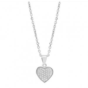 TJH COLLECTION SILVER PAVE HEART PENDANT